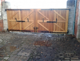 Large wood gates back