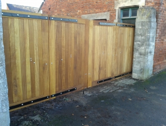 Large wood gates front