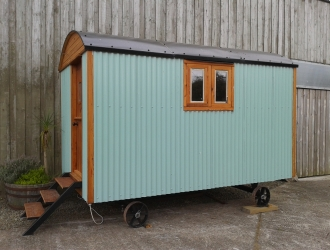 Aqua Shepherd Hut - side view