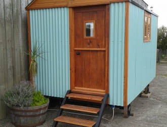 Aqua Shepherd Hut - front view