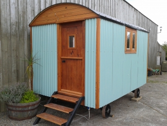 Aqua Shepherd Hut - front view (2)