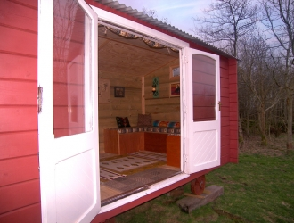 Red Bespoke Shepherd Hut Cornwall inside
