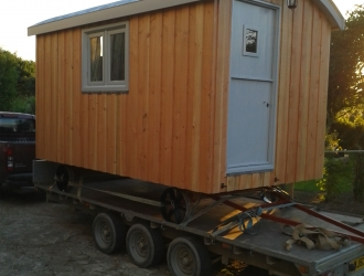 Wood clad Shepherd hut - side view